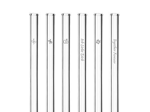 HALM Glas-Strohhalme - Hochzeits-Edition - Besonderes Geschenk zur Hochzeit - 6 Stück gerade 20 cm mit Gravur - Wiederverwendbare Glas-Trinkhalme graviert - Glasstrohalme
