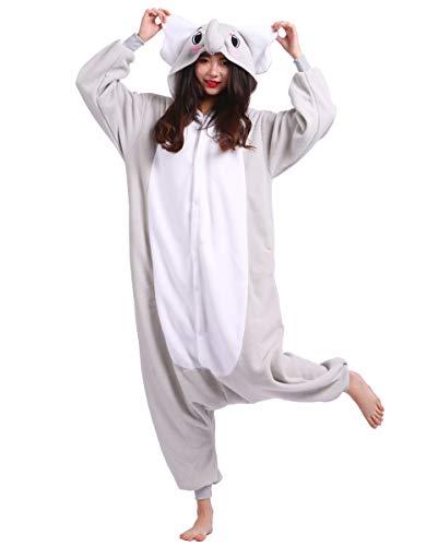 Jumpsuit Onesie Tier Karton Fasching Halloween Kostüm Sleepsuit Cosplay Overall Pyjama Schlafanzug Erwachsene Unisex Lounge, Grau Elefant, Erwachsene Größe M - für Höhe 156-167CM