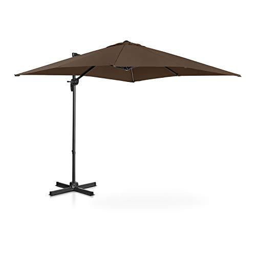 Uniprodo Ombrellone Decentrato Ombrello da Giardino Uni_Umbrella_2SQ250BR (Marrone, Rotondo, Ø 250 cm, Girevole)