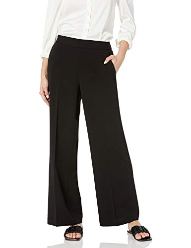 Kasper Women's Plus Size Crepe Pull ON Elastic Back Wide Leg Pant, 2X Black
