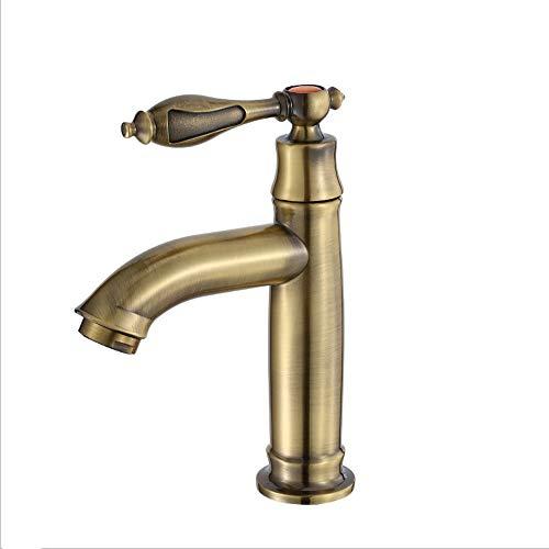 AXWT Style européen Rural Antique Tous les robinets de bassin en bronze Lavabo rétro Buse à eau Vert Bronze Robinet Simple robinet d'eau froide