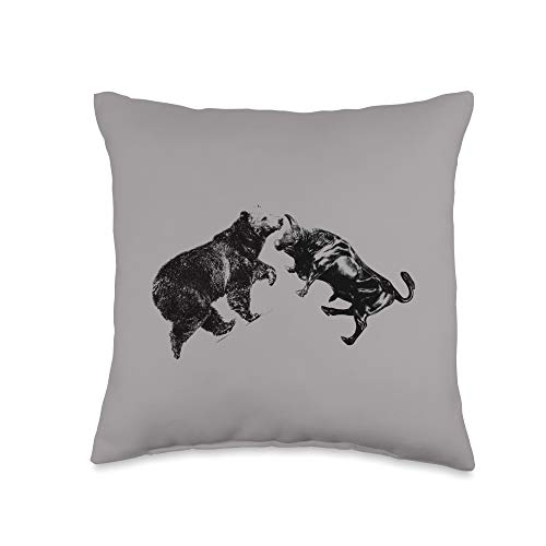 31sLPzizK9L. SL500  - Trading Bull and Bear Stock Market Forex Trader Throw Pillow, 16x16, Multicolor