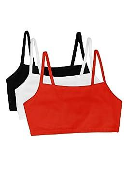 Fruit of the Loom Women s Spaghetti Strap Cotton Pullover Sports Bra Black/White/Red Hot 38