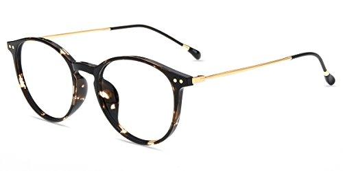 Firmoo Gafas para Ordenador Anti luz Azul,Evita la Fatiga Ojos, Gafas PC UV Luz Filtro Protección Azul Mujer Hombre para Antifatiga, S7715 Oro Tortuga