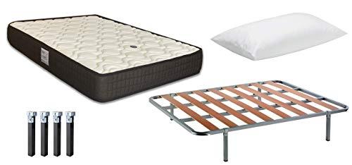 Pack Ahorro Colchón Viscoelástico EKO Confort + Almohadas Dalia Velfont + Somier BASIK + Patas Metálicas 180 x 200cm