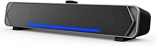 Casse PC USB, 5w*2 Soundbar 3.5mm Jack Altoparlanti 2.0 USB Alimentato con 2 Diaframmi Portatile Speakers Stereo Surround 3D, Barra Audio per Notebook Desktop Laptop Cellulare, Plug And Play