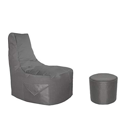 Lacasa Gaming Sitzsack 85x80x35 mit Seitentasche und Hocker Erwachsene Sessel XXL kompatibel mit PS4 XboxOne Nintendo Switch Outdoor Indoor(Gamer Sitzsack mit Hocker, Anthrazit)