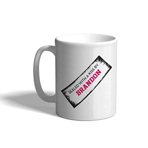Taza de café personalizada de cerámica de 11 onzas divertida sellada con un beso de Humor Funny White Tea Cup Humor