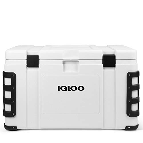 Igloo Leeward 124 Quart Cooler with Cutting Board, Fish Ruler, and Tie-Down Points - Marine-Grade Ice Chest - White