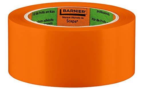 Barnier PVC Putzerband Typ 6095 | Winter-Schutzband 50 mm 33 m orange glatt | PVC-Schutzband für glatte und leicht raue Untergründe | PVC Klebeband für Innen und Außen | Klebeband Verputzerband