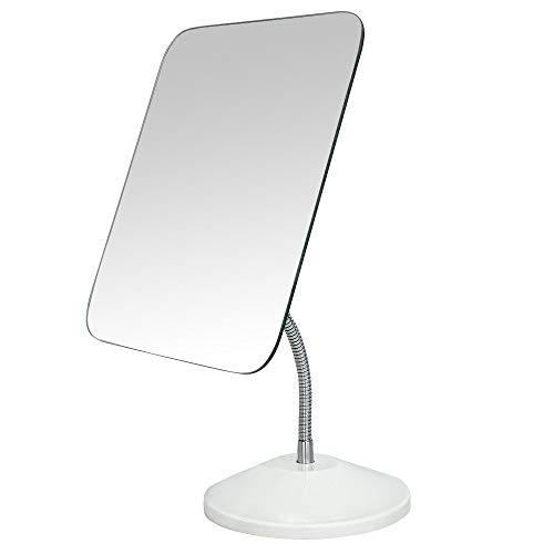 YEAKE Adjustable Flexible Gooseneck Makeup Mirror360°Rotation Folding Portable Desk Vanity Mirror with Stand Shower Shaving Cosmetic Mirror Square Large