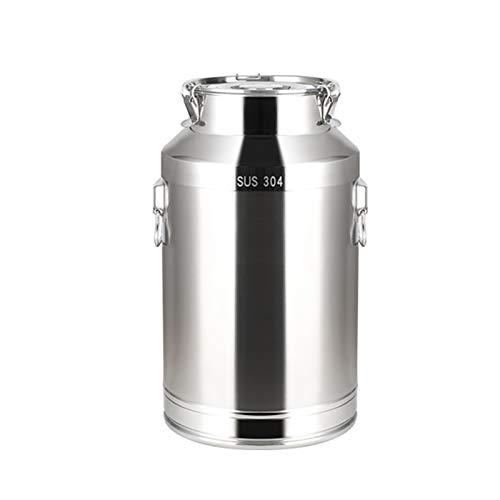 Leche de acero inoxidable 304, con tapa sellada, resistente, para almacenamiento de líquidos de leche y vino (tamaño: 35L)
