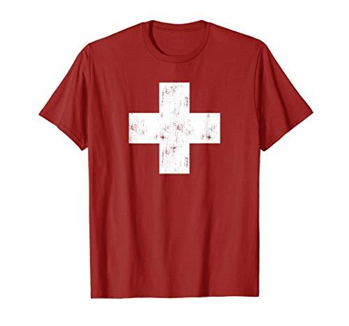 Schweizer Vintage Kreuz Flagge Schweiz T-Shirt