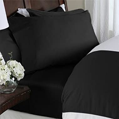 HC Collection Bed Sheets Set, HOTEL LUXURY 1800 Series Egyptian Quality Platinum Collection Bedding Set, Deep Pockets, Wrinkle & Fade Resistant, Hypoallergenic Sheet & Pillow Case Set (King, Black)