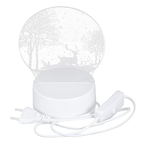 WINOMO 1 lámpara de noche con enchufe de bosque de alce en carga para dormitorio, lámpara de noche (monocromo 3 W)