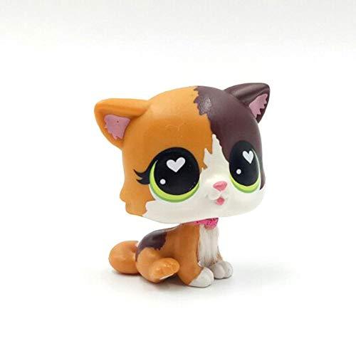 FINIMY Tienda de Mascotas Juguetes Lps Juguetes Littlest Animal Rare Pet Shop Juguetes Lindos Stands Pelo Corto Gato Corazón Blanco Ojos Verdes Gatito Juguetes