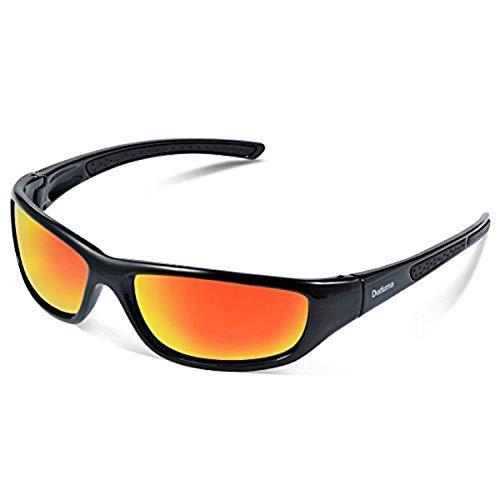 Duduma Gafas de Sol Deportivas Polarizadas Para Hombre Perfectas Para Esquiar Golf Correr Ciclismo TR8116 Súper Liviana Para Hombre y Para Mujer (marco negro con lente roja)