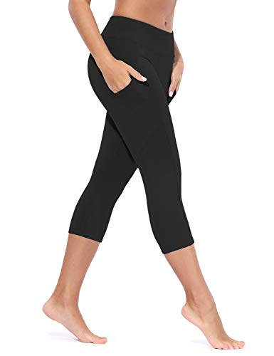 BALEAF Women's Yoga Workout Capris Non-See Through Leggings Athletic Mid Waist Pants Side Pocket Capri Black XL