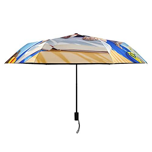 Paraguas invertido, negro, relajante, para perros, chihuahua, libro de lectura debajo de las palmas, para niños, paraguas invertido, para niña, portátil, liviano, a prueba de viento, para niña, para