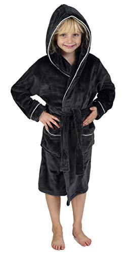 CityComfort Bademantel Jungen Morgenrock Jungen mit Taschen Schwarz Grau Sehr Warm (9-10 Jahren, Kohlengrau)