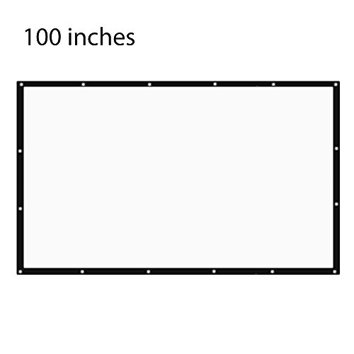 Projector Screen Outdoor Indoor 100 Inch 16:9 Diagonal Projection Screen Portable Movie Screen Support Front Rear Projection by NIERBO