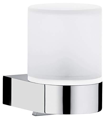 KEUCO Lotion-Spender Metall verchromt und Kristall-Glas, Inhalt nachfüllbar ca. 180ml, Seifenspender für Bad und Gäste-WC, Wandmontage, Edition 300