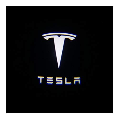 Happy Shop Autotür Willkommen Licht Ultra-Bright kompatibel mit Tesla LED-Auto-Tür-Logo-Projektor-Licht LED Willkommen Logo Licht kompatibel mit Tesla Model 3 / S/X/Y Willkommenes Licht