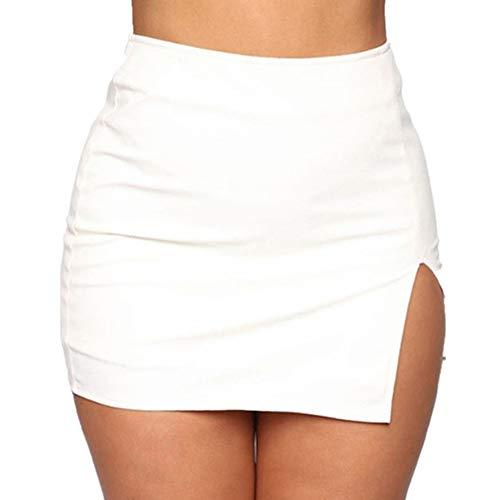 N\P Verano Faldas Mujeres Frente Split Mini Bodycon Falda Color Sólido Dulce Lindo Falda Retro Cintura