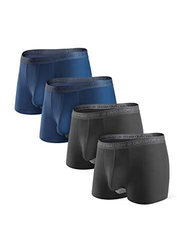 DAVID ARCHY Boxershorts Herren Modal mit Eingriff Separat Beutel Microfaser Unterhosen Funktion Doppeltaschen Unterwäsche 4er Pack,Schwarz*2 + Marineblau*2,M