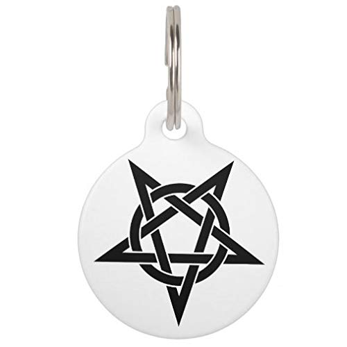 onepicebest Personalized Pet Tags for Dogs and Cats,Custom Pet ID Tags, Black Inverted Pentagram Pet ID Tag Pet Gifts - Round Stainless Steel