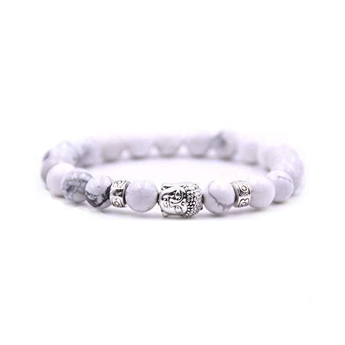 Bracelet Perle Bouddhist - Bracelet en Perle Chakra et Tête de Bouddha pour Femme et Homme - Blanc