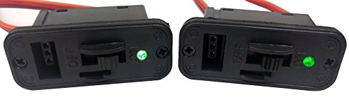 Apex RC Products 2 Pack - JR Style Heavy Duty On/Off Switch with Bright LED and Charge Port 1061