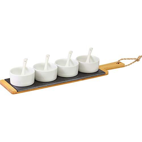 Westmark Servierset, 9-tlg., 1 Bambus-Schiefer-Platte + 4 Schälchen + 4 Löffel, Schiefer/Bambus/Keramik, Tapas + Friends, Anthrazit/Hellbraun/Weiß, 69662260