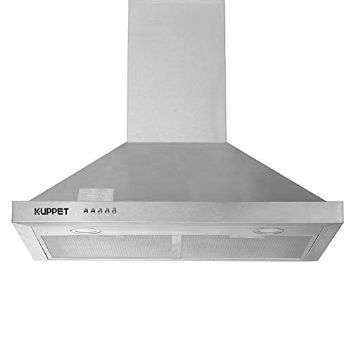 """Kitchen Bath Collection 30"""" Wall Mount Range Hood, Tempered Glass with High-End LED Lights, Aluminum Mesh Filter, Push Button 3 Speed Controls,Silver Stainless Steel"""
