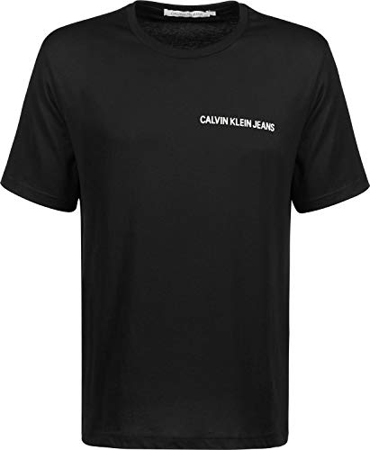 Calvin Klein Chest Institutional Slim SS tee Camiseta, Negro (CK Black 099), L para Hombre