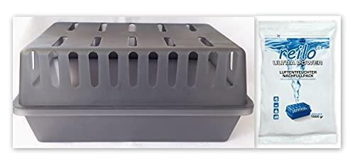 XXL Raumentfeuchterbox mit 2x 1kg Ultrapower Luftentfeuchter- Raumentfeuchter- Granulat (Calciumchlorid) Nachfüllpack im Vliesbeutel