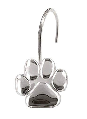 Paw Print - Shower Curtain Hooks, Polished Chrome, High Quality, Includes a Set of 12 - Give Your Restroom What It Deserves Now!