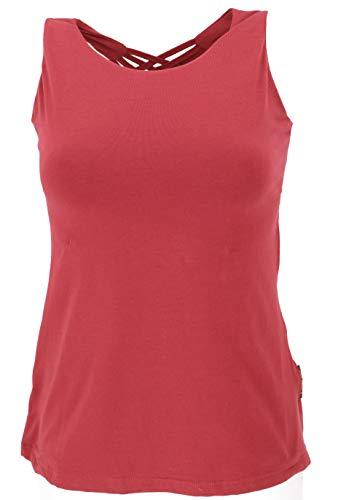 GURU SHOP Yoga-Top mit Aufwendigem Rückenteil in Bio-Qualität, Damen, Paprika, Baumwolle, Size:M (38), Tops & T-Shirts Alternative Bekleidung