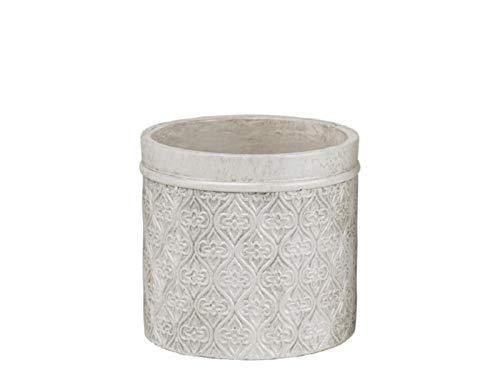 """meindekoartikel Topf """"Minea"""" aus Zement im orientalischen Stil Shabby-Look (Weiss Silber) – Blumentopf Übertopf Dekotopf – Ø 12cm x Höhe 11cm"""