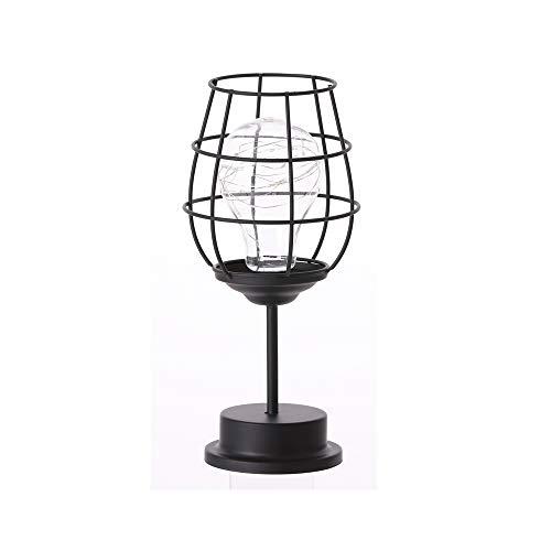 Lámpara decorativa para mesita de noche, luz nocturna, funciona con pilas, de hierro, luces LED de alambre de escritorio, para dormitorio, sala de estar (copa de vino)