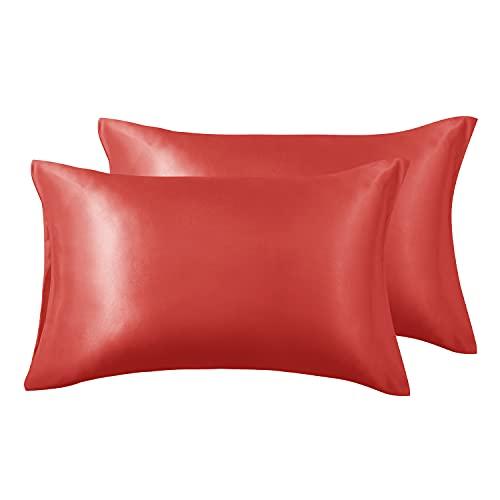 Love's cabin Juego de 2 fundas de almohada de satén de seda para cabello y piel (rojas, 50,8 x 101,6 cm), fundas de almohada de satén con cierre de sobre.