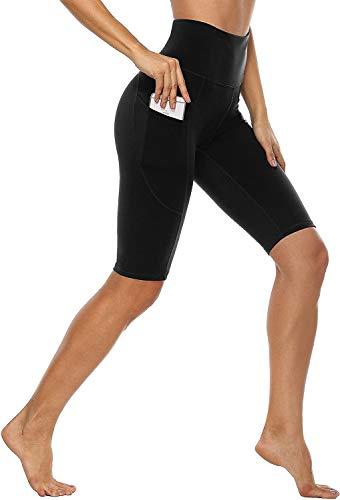 Anwell Damen Leggings Yoga kurz Sporthose Push up Blickdicht Sport Leggings High Waist Stretch Leggins Handytasche Schwarz L