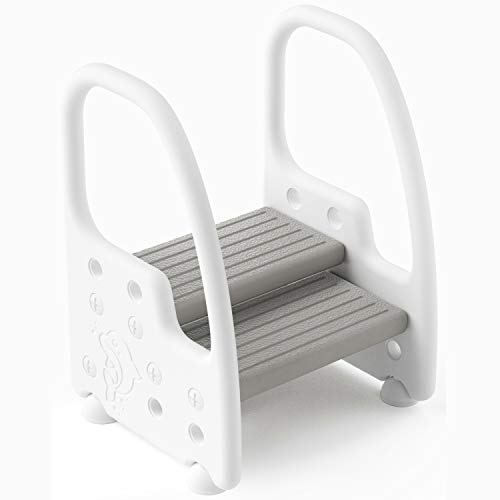 Wiifo Toddler Step Stool for Sink  Height Adjustable Plastic Step Stool for Kids with Handle & Non-Slip Safety Child Step Stool for Bathroom or Kitchen  Grey