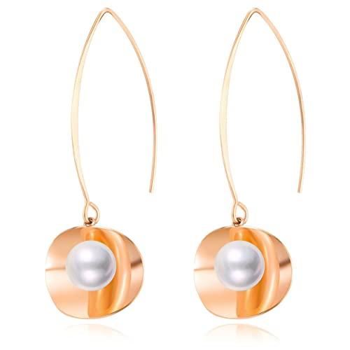Kongqiabona-UK Pendientes de Mujer Pendientes Largos de Perlas de Acero de Titanio Pendientes Largos de perforación para Mujer Regalo de Boda de cumpleaños