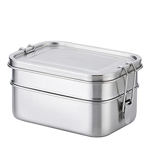 Caja de almuerzo Bento 304 de acero inoxidable Contenedor de alimentos de doble capa grande de fruta pastel Snack Box 1400ml Caja de almacenamiento Bin Vajilla