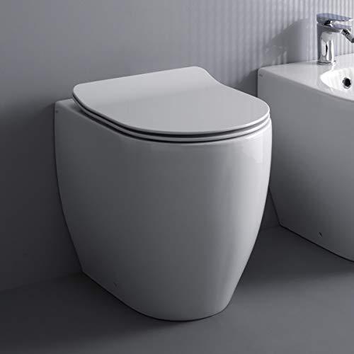 Yellowshop - Vaso wc con coprivaso bagno a terra filo muro Rimless mod Glomp