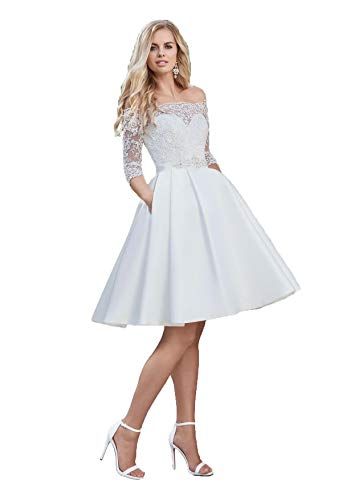 Awishwill Women's Off The Shoulder Wedding Dresses Short Lace Satin Wedding Gown with Pockets AD153 White-US16