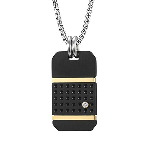 Collar Con Colgante Mute Negro Oro Contraste Color Marea Marca Titanio Acero Colgante