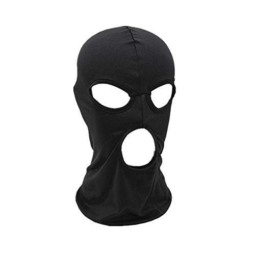 WIN Balaclava Mask,Thin Lycra Three Holes Full Face Mask for Motorcycle Bike Hunting Cycling Cap Ski, Black, One Size