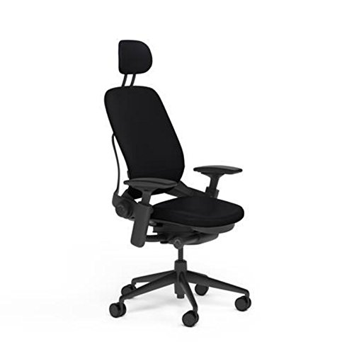 Steelcase Leap Desk Chair with Headrest Black Leather Seat and Back - Highly Adjustable Arms - Black Frame and Base - Soft Dual Wheel Hard Floor Casters